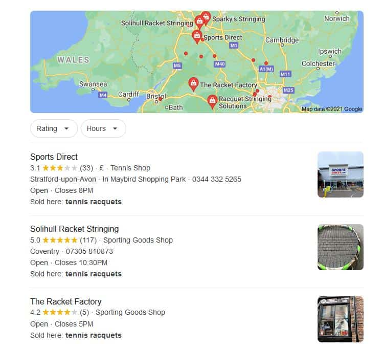 Google Maps Search Listing Example for SEO